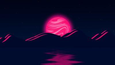 Pink Moon, Mountains, Illustration, Body of Water, Stars, Night, Dark background, 5K