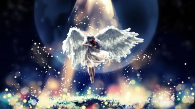 Girl playing Violin, Moon, Surreal, Bokeh, Digital illustration, Angel wings