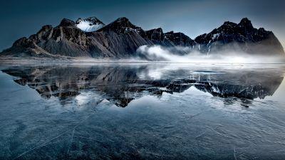 Vestrahorn, Iceland, Frozen lake, Mountain Peak, Mist, Winter, Reflection, Landscape, Scenery, 5K