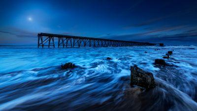 Wooden pier, Moonlight, Seascape, Long exposure, Scenic, Dusk, Night time, 5K