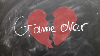 Broken heart, Game Over, Black board, Separation, Emotions, Breakup, 5K