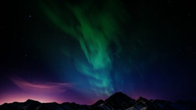 Aurora Borealis, Northern Lights, Mountain range, Night time, Starry sky, Landscape, Scenic, 5K