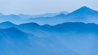 Blue mountains, Foggy, Mountain range, Landscape, Scenery, 5K