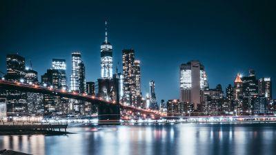 Brooklyn Bridge, Night, City lights, Cityscape, Reflections, Brooklyn, New York, USA