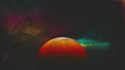 Red planet, Digital Art, Milky Way, Stars, Colorful, 5K