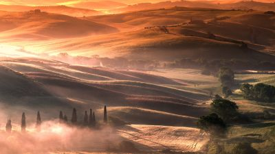 Tuscany, Italy, Country Side, Sunrise, Foggy, Dawn, Landscape, Aerial view, Meadow, 5K