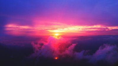 Sunset, Dusk, Cloudy Sky, Purple, Aerial view, Scenery, 5K
