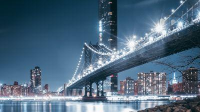 George Washington Bridge, Night, City lights, Rocks, Hudson River, New Jersey, USA