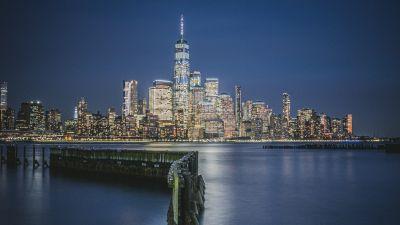 Hudson River Waterfront Walkway, Jersey City, Cityscape, Night, City lights, New Jersey, USA