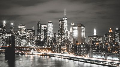 Manhattan Bridge, Brooklyn, Cityscape, Night, City lights, New York City, USA