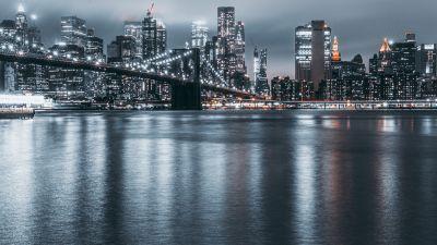 Brooklyn, Cityscape, Night, City lights, New York City, Reflections, USA