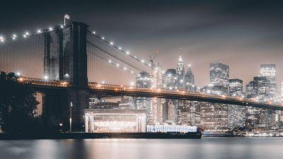 Brooklyn Bridge, Night, City lights, Cityscape, Reflections, Hudson River, Brooklyn, New York, USA