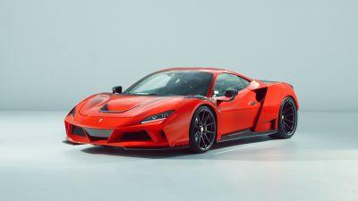 Novitec Ferrari F8 Tributo N-Largo, 2021, Sports cars, White background, Red cars, 5K