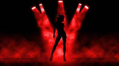 Girl, Spot lights, Silhouette, Dancing, Dark background, Red