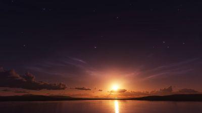 Sunset, Dusk, Seascape, Horizon, Dark