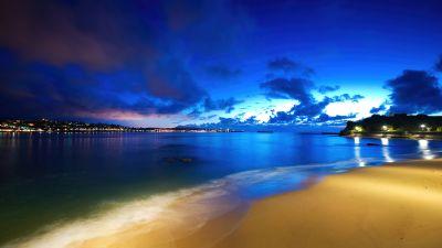 Saint-Jean-de-Luz, Fishing port, Blue Sky, Beach, Night, Dusk