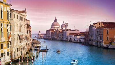 Venice city, Santa Maria della Salute, Grand Canal, Roman Catholic church, Venice, Italy, Pink sky, Sunset, Vivid, Ancient architecture, Aesthetic