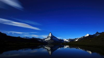 Matterhorn, Alps mountains, Night, Dark, Silhouette, Panorama, Blue Sky, Stellisee Lake, Reflection, Midnight, Scenery, Aesthetic