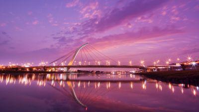 Dazhi Bridge, Taipei, Modern architecture, Sunset, Urban, Night lights, Purple sky, Pink, Taiwan, Reflection