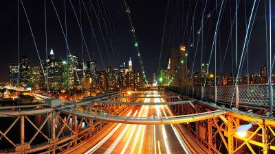 New York City, Skyline, Night City, City lights, Cityscape, Traffic, Bridge, Illuminated, Rush