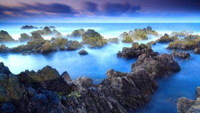 Rocky shore, Porto Moniz, Aesthetic, Fog, Long exposure, Blue, Rocks, Portugal, Landscape, Seascape