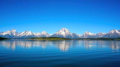 Jenny Lake, Landscape, Grand Teton National Park, Sunny day, Reflections, Mountains, Wyoming, Blue Sky, Tranquility