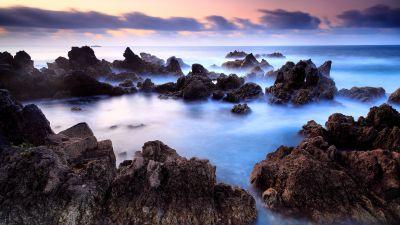 Rocky shore, Seascape, Ocean, Fog, Long exposure, Portugal, Rocks