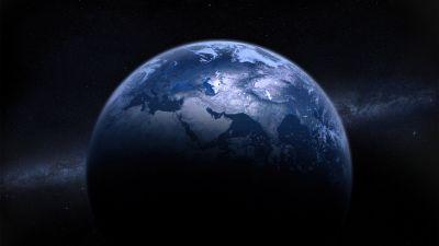 Earth, Milky Way, Astronomy, Digital composition, Dark background, Dark blue
