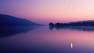 Coniston Water, Lake, Sunset, Evening, Twilight, Dusk, Purple sky, Reflection, Landscape, Crescent Moon