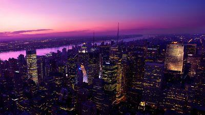 New York City, Twilight, Evening, City lights, Dark, Night, Pink sky, Cityscape, Skyline, Buildings, Skyscrapers, Urban, Metropolitan, Purple