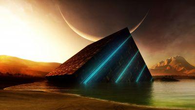 Cube, Beach, Surreal, Sunset, Moon, Futuristic, Digital render, 3D
