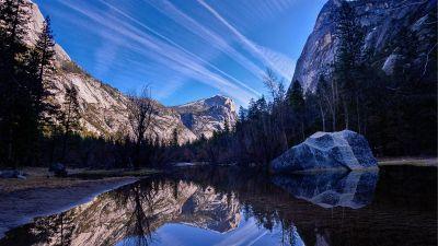 Yosemite Valley, Mirror Lake, Yosemite National Park, Reflection, Daylight, Blue Sky, California