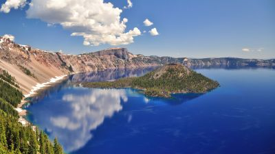 Crater Lake, Oregon, Blue Water, Blue Sky, Reflections, Body of Water, Sunny day