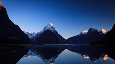 Morning, Sunrise, Blue sky, Mountains, Reflections, Milford Sound, New Zealand, Body of Water, Lake