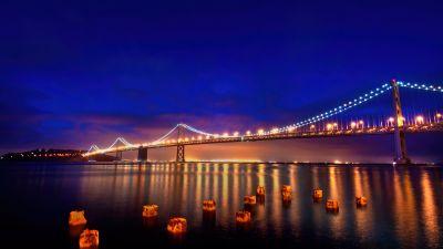 San Francisco-Oakland Bay Bridge, Night, Reflections, Blue hour, Cold, Lights, Bay Bridge, California