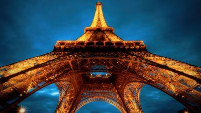 Eiffel Tower, La tour Eiffel, Night, Cloudy Sky, Sunset, Paris, France