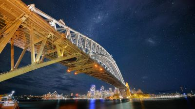 Sydney Harbour Bridge, Night, Cityscape, City lights, Sydney, Australia, Milky Way