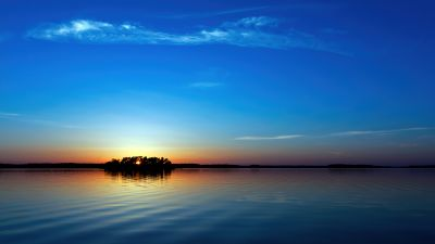 Sunset, Seascape, Blue Sky, Clear sky, Scenic