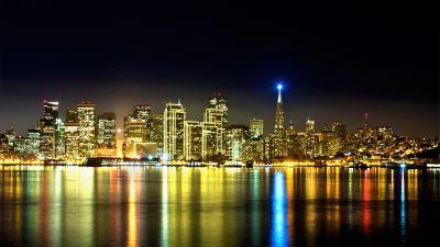 Treasure Island, San Francisco, Night, City lights, Urban, Reflections, Night City, Skyline, Cityscape