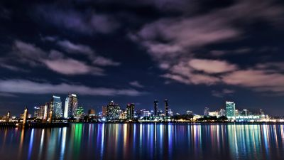 San Diego, Cityscape, Night, Reflections, City lights, California, Night sky