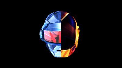 Daft Punk, Helmet, Dark background, Minimal art