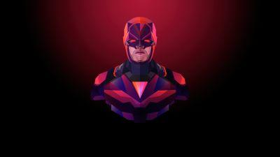 Daredevil, Marvel Superheroes, Dark background, Minimal art, Red