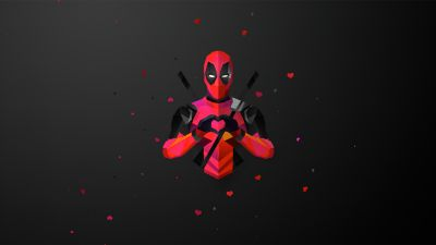 Deadpool, Marvel Superheroes, Dark background, Minimal art, Black background