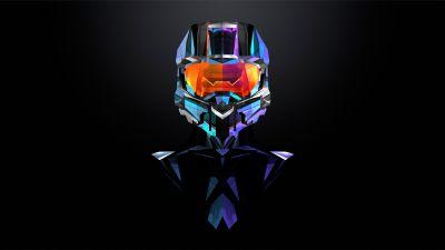 Master Chief, Halo, Dark background, Minimal art