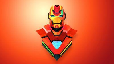Iron Man, Marvel Superheroes, Orange background, Marvel Comics, Low poly