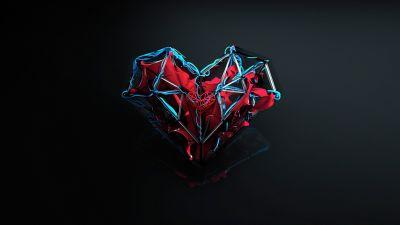 Love heart, Dark background, Artwork, Heart beat