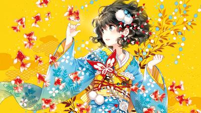 Anime girl, Underwater, Fishes, Dream, Fantasy, Yellow background