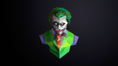 Joker, DC Comics, Dark background, Low poly, Clown, Chaos