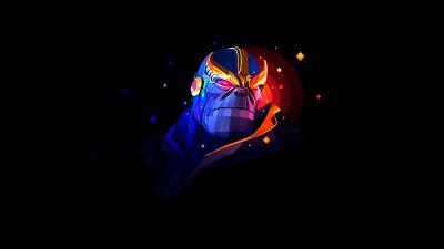 Thanos, Marvel Comics, AMOLED, Black background, Artwork, Low poly