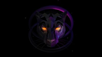 Panther, Scary, Glowing eyes, Low poly, Dark background